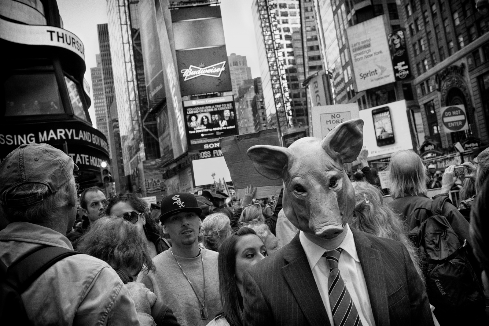 The protesters of Occupy Wall Street Movement march into Times Square, New York on Oct. 15, 2011.