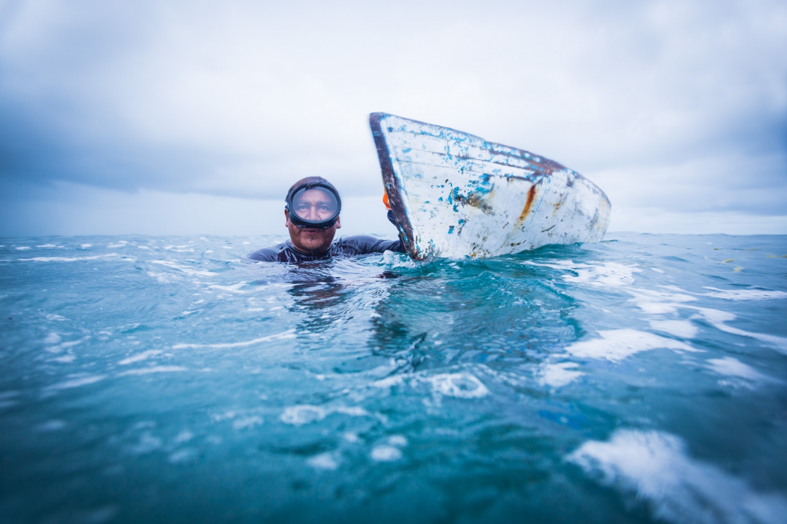 Conch diver, outer cayes, Belize. From a campaign supporting the Managed Access fisheries management program in Belize.
