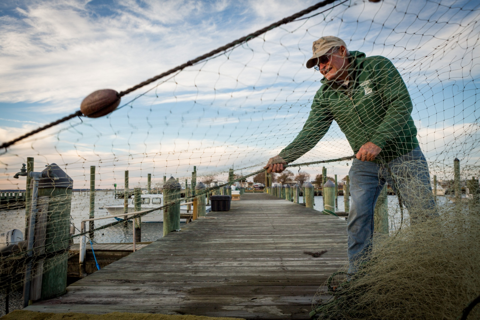 Fisherman in Chincoteague, VA. From an assignment for Point 97 and the MARCO Portal project profiling fisheries on the Mid-Atlantic coast, USA.